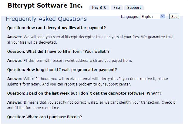 図4:「BitCrypt」の FAQページ