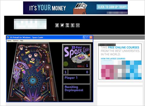図1:実行中プロセス「Space Cadet」のバックグラウンドにフルスクリーンで表示された Webサイト
