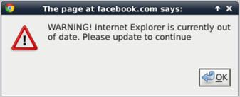 図2:Internet Explorer(IE)の更新を促す偽の警告文