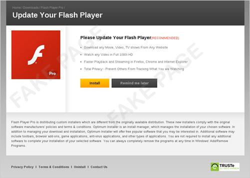 図5:偽の Adobe Flash Player の更新ページ