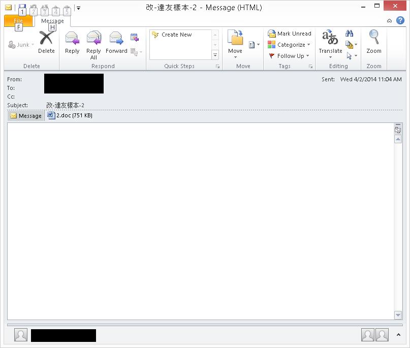 図3:Eメールの一例