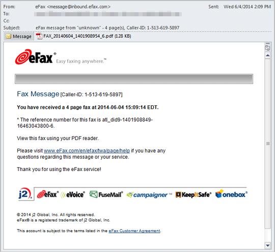 図2:eFax の正規の Eメール通知