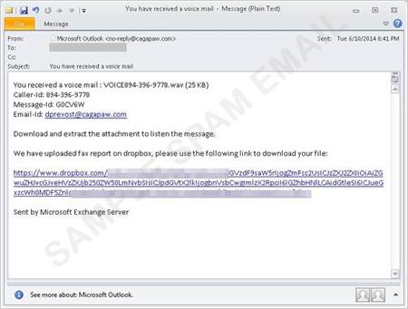図4:「CryptoLocker」の亜種「Cryptowall」をダウンロードさせるスパムメール