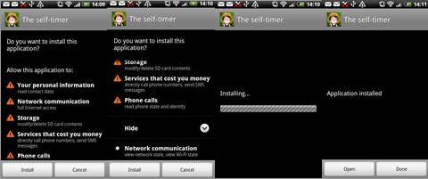 図3:「AndroidOS_SlfMite.A」インストール時の画面表示例
