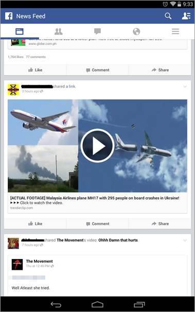 図4:MH17のニュースに便乗するFacebookの投稿の例