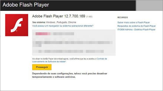 図1:偽の Flash Player のダウンロードページ