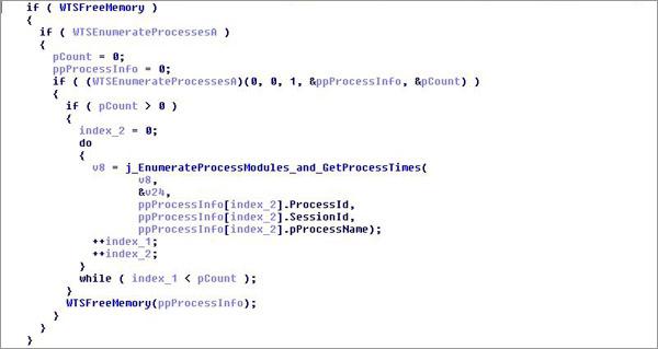 図1:RDサービスAPI「WTSEnumerateProcesses」を利用する「BKDR64_MIRAS.B」