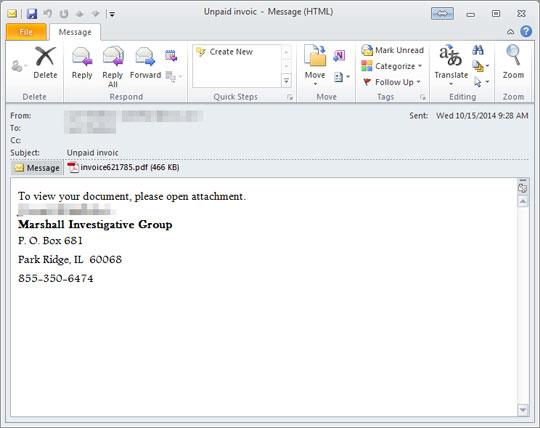 図2:スパムメールの例