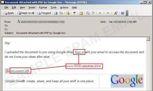 図1:Googleドライブの偽サイトへのリンクが記載されたスパムメール