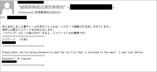 図4:先に送付した圧縮ファイルのパスワードを知らせる偽装メールの例