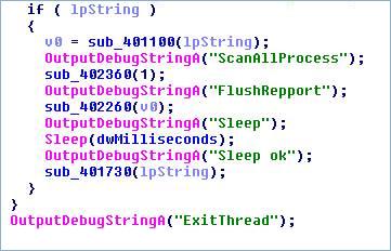 図2:使用されたデバッグ用文字列の例