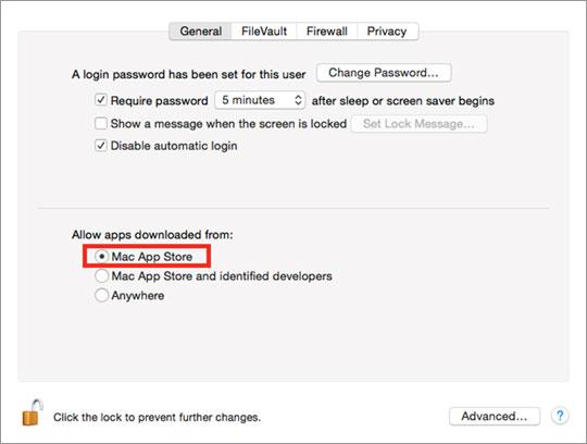 図1:「システム環境設定」>「セキュリティとプライバシー」を選択。「ダウンロードしたアプリケーションの実行許可で「Mac App Storeからのアプリケーションのみを許可」のオプションにチェック