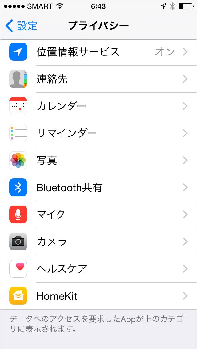 図3:設定>プライバシー」を選択。カメラアプリや連絡先、マイク、位置情報などに不必要なアクセスがないか確認