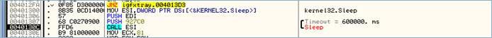 図5:「BKDR_WIPALL.B」(igfxtrayex.exe)は 10分間スリープする