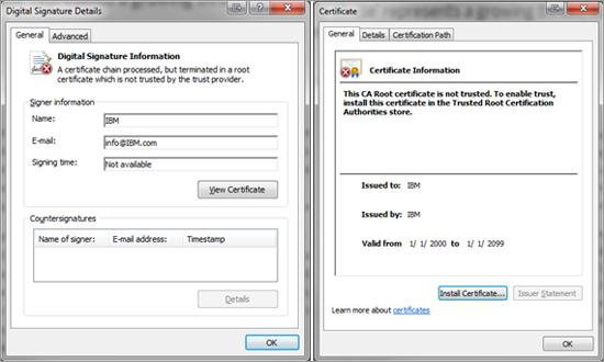 図5:IBM が署名したと装う偽のデジタル証明書