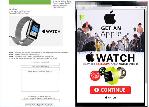 図2:Apple Watchの無料プレゼントをうたう不審サイトの例