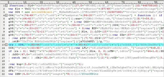 図2:難読化されたコードの一部抜粋