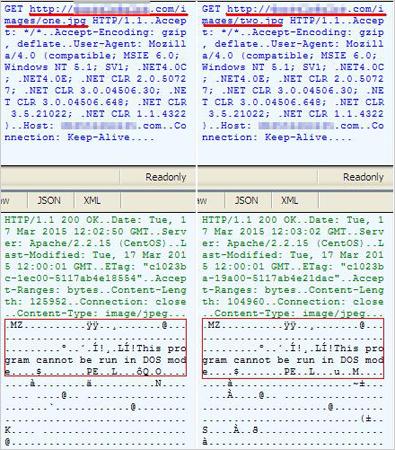 図3:画像ファイルを装ってダウンロードされた実行ファイルの MZ および PEシグネチャ
