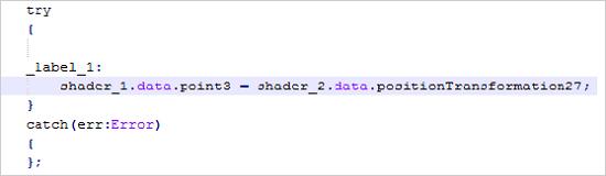 図2:エクスプロイトコードで利用されたシェーダー