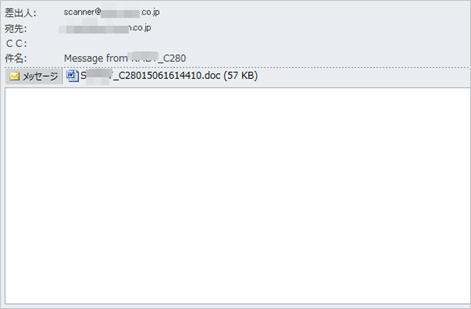 図1:複合機からの通知を偽装した攻撃メールの例