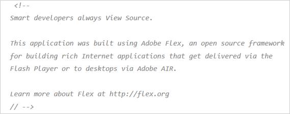 図1:不正ファイル「movie.html」内のAdobe Flexにより作成されたことを示すコメント文