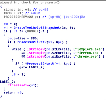 図7:実行中の Webブラウザを確認する「TROJ_RECOLOAD.B」