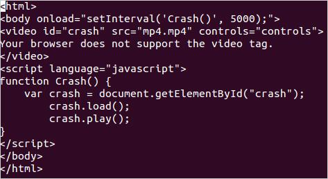 図2:MP4ファイルが埋め込まれている HTMLコード