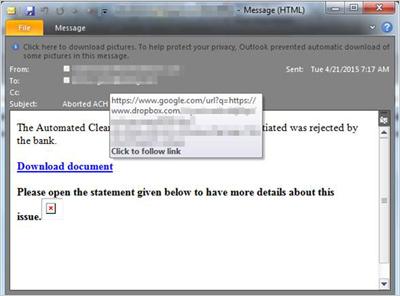図3:「Dropbox」へのリンクが含まれたスパムメールの例
