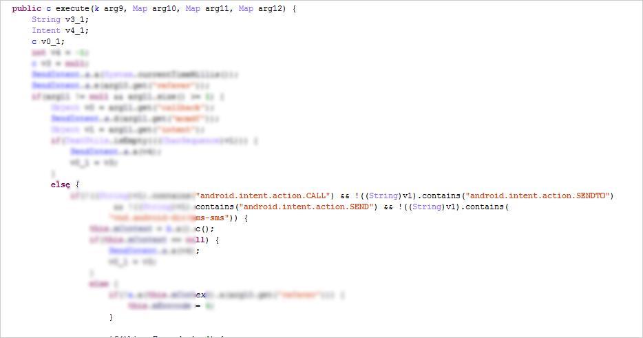 図12:「sendintent」と呼ばれるコマンドを利用することによって、攻撃者はユーザ端末上で不正な制御を実行できる