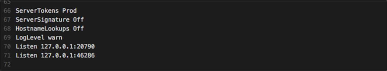 図2:「Apache」のインストール時に作成される「httpd.conf」内の記述例