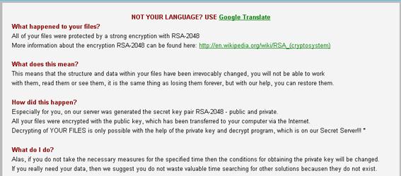 図2:「CrypTesla」の脅迫文。冒頭に英語がわからない場合はグーグル翻訳を使用せよ、という旨の文とグーグル翻訳へのリンクがある