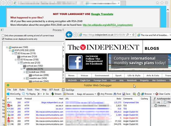 図2:「The Independent」内で改ざんが確認されたブログページ
