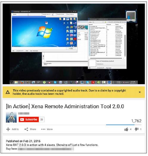 図1:YouTube動画で喧伝されるサイバー犯罪ツール「Xena」の各種機能