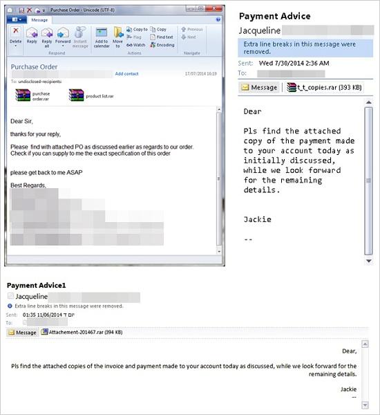 図1:「Predator Pain」および「Limitless」を利用するサイバー犯罪者が送信した Eメールの例