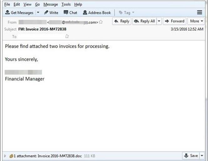 図1:件名を「invoice(請求書)」、送信者を「Financial Manager(財務管理者)」としてユーザに添付ファイルの開封を促すスパムメール