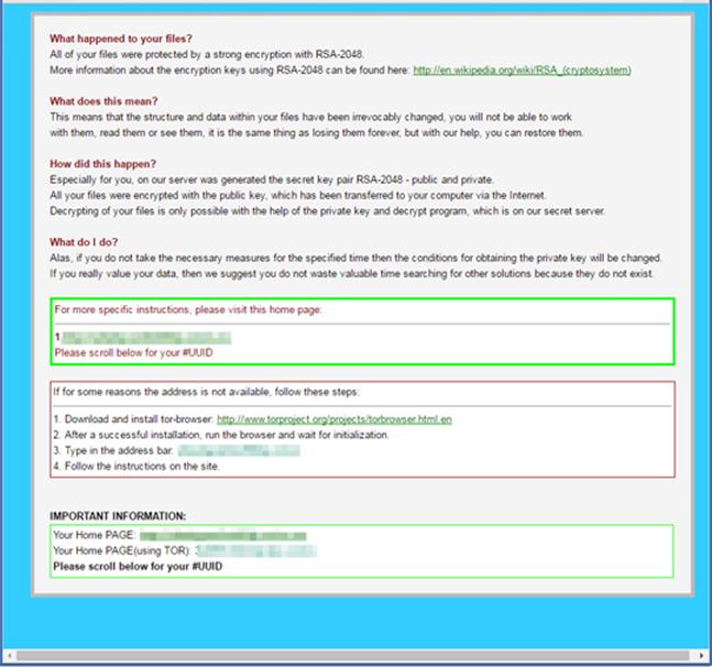図4:ファイルが暗号化され支払いを促す HTML形式のページ