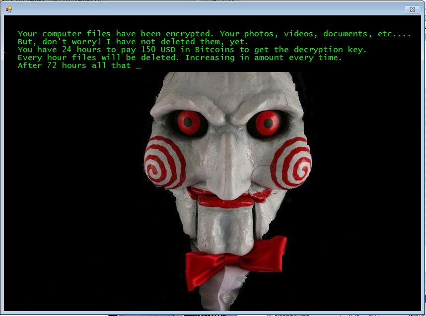 図1:脅迫メッセージと腹話術人形ビリーの画像を表示する JIGSAW