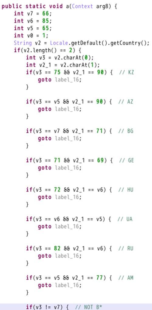 図5:特定の国を回避する不正プログラムのコード例