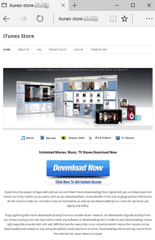図7: iTunes Store と誤解させる偽サイトの表示例