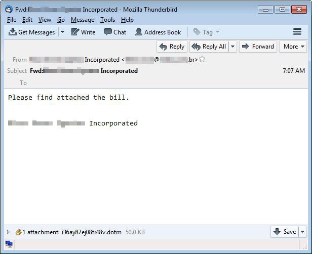 図2:請求書として送付されている、不正なファイル(ここではマクロ付きWordテンプレートファイル)が添付されたスパムメールの例