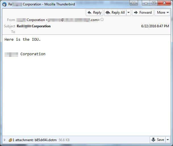 図3:借用書として送付されている、不正なファイル(ここではマクロ付き Wordテンプレートファイル)が添付されたスパムメールの例