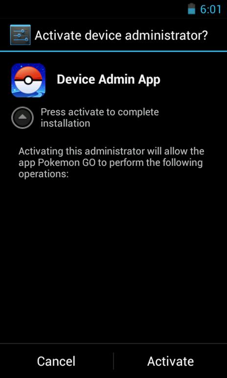 図1:ニセ「Pokémon GO」がインストール時に表示するデバイス管理者権限の要求画面例