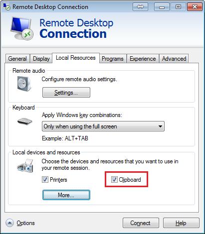 図3:RDPセッションで利用されるクリップボードの設定