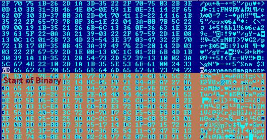 """図3:環境設定ファイル """"x""""のバイナリコードの開始部分"""