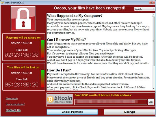 図2:「WannaCry/Wcry」の脅迫画面