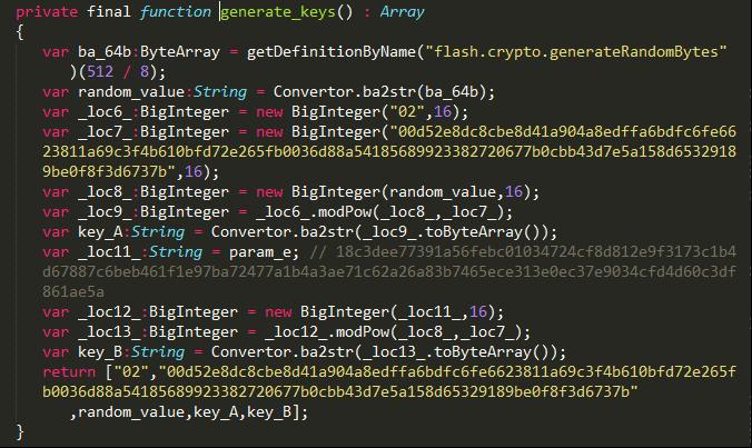 図3:「Astrum EK」内のコード:これにより、ランダムな値の生成され、秘密鍵が算出される