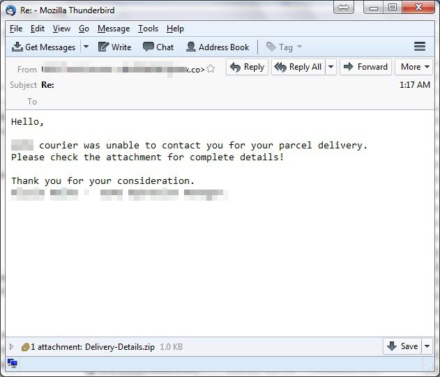 図3:郵便局からのメールを装った「CERBER6」のスパムメール