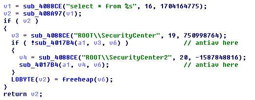 図4:感染PC でのセキュリティ製品のインストール有無をチェックする際、「Windows Management Instrumentation」を使用