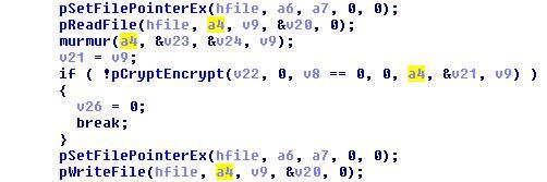 図6:ファイルの暗号化に使用される「CryptEncrypt」